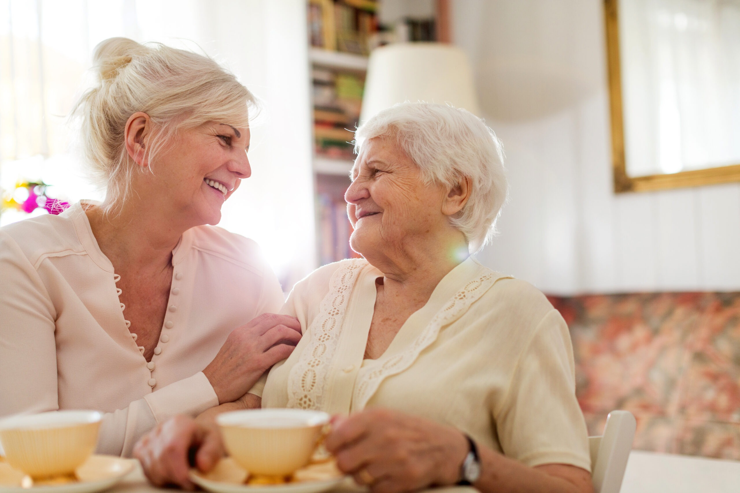 Senior woman spending quality time with her daughter thanks to home hospice palliative care