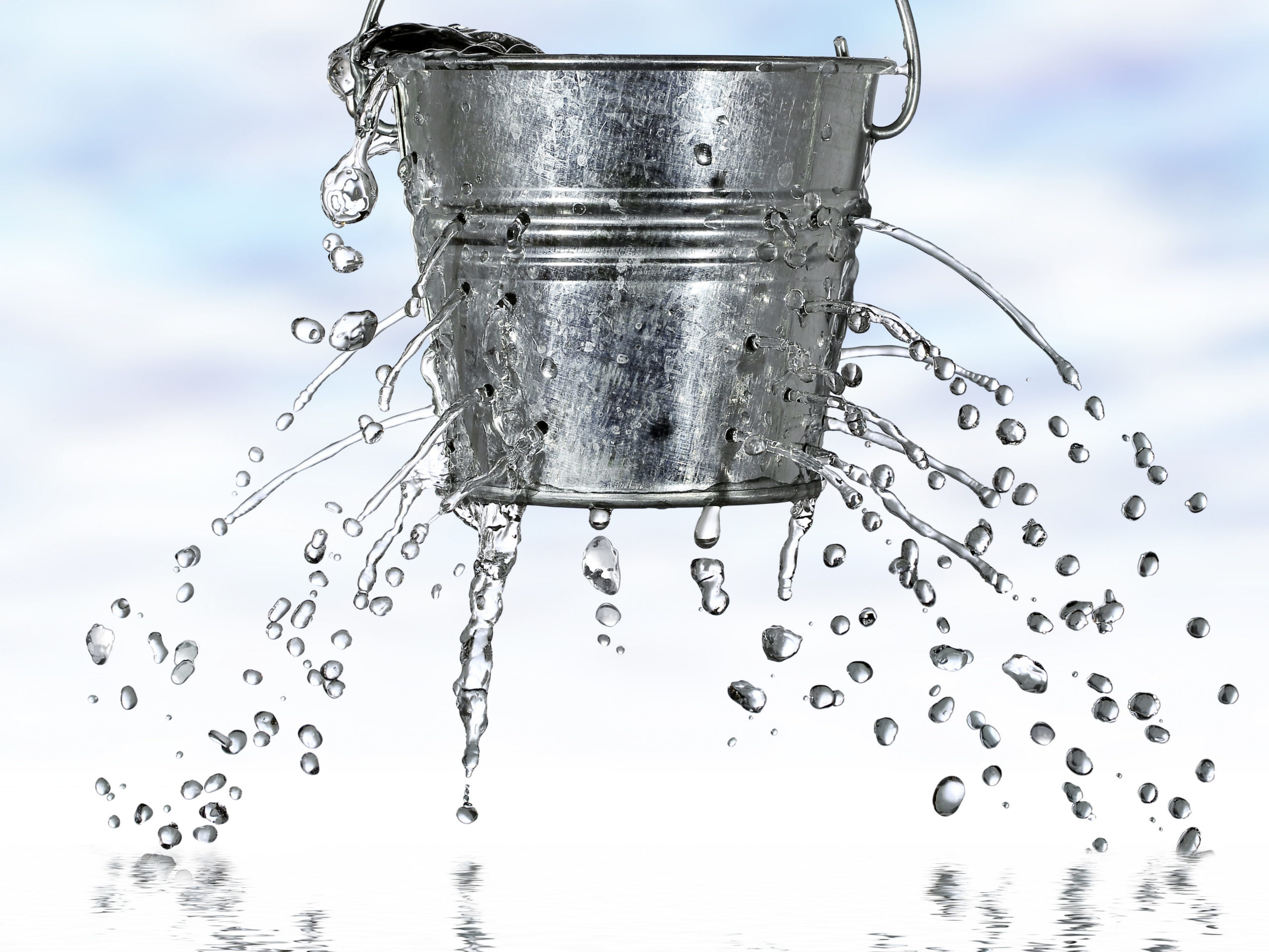 When kidneys don't work they become leaky like this bucket with holes in it and allow things to pass through that shouldn't come through.