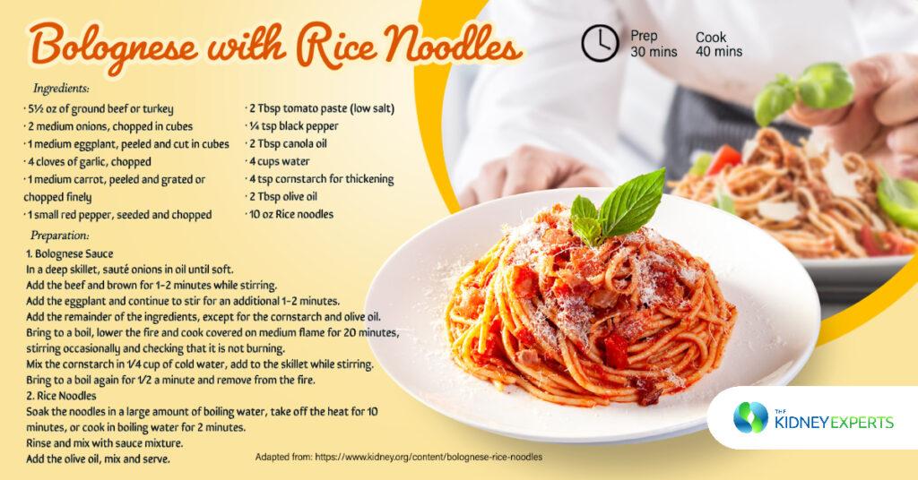 beef veggie bolognese rice noodles