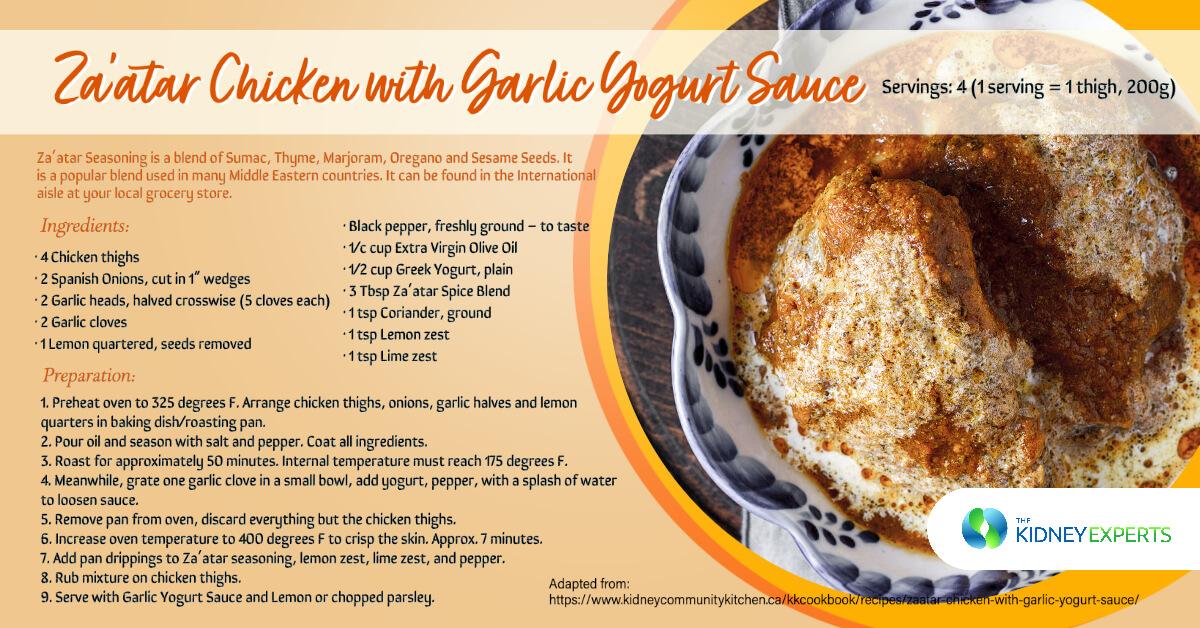Za'atar Chicken with Garlic Pepper Yogurt Sauce